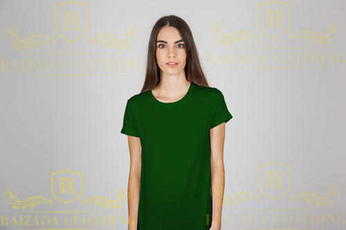 0e3ef70d Women's Cotton Round Neck Half Sleeve Olive Green Plain T-shirt, Rs ...