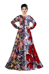 Long Plus Size Printed Maxi Gown Dresses for Women