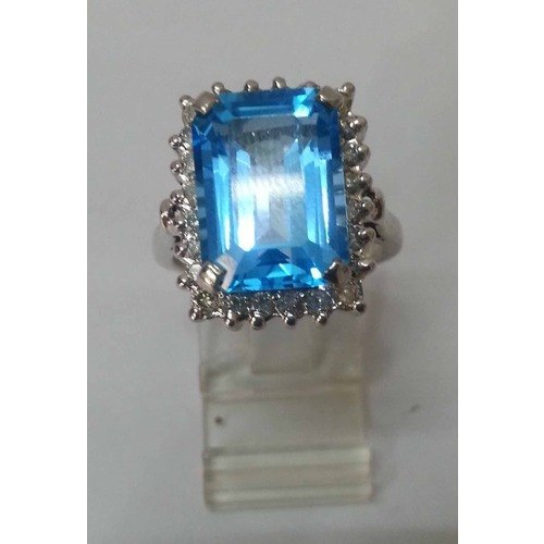 925 Sterling Silver Rings - Silver 925 Diamond with Blue Topaz Ring Manufacturer from Jaipur