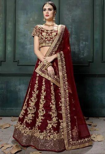 46a797e5e3 Embroidery Bridal Wear Maroon Raw Silk Lehenga Choli, Rs 3622.5 ...