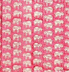 Hand Block Elephant Printed Cotton Fabric