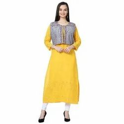 LKAAAF-26A Yellow Ladies Kurti