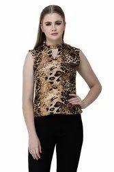 Denimes Multicolor Crepe Tiger Print, Animal Print Round Neck Sleeveless Top for Women