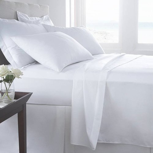 White Cotton 300TC King Flat Sheet Set