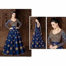 Ladies Embroidered Anarkali Silk Suit