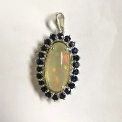 Opal And Blue Sapphire Silver Astrological Pendant
