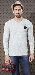 Mens V neck beared full sleeve print T shirt