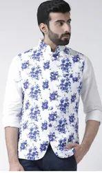 Party Wear Men Hartmann Floral White Printed Ethnic Waistcoat, Size: 36-46