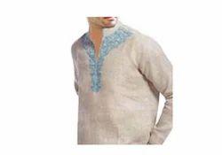 Mens Natural Linen Tunics Designer Embroidered T Shirt
