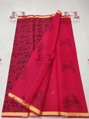 Fancy Kota Doria Block Print Saree