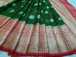 Banarasi Check Kora Muslin Silk Sarees