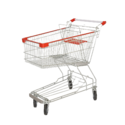 Stainless Steel Four-wheel Shopping Trolley With 60l Capacity For Grocery Stores