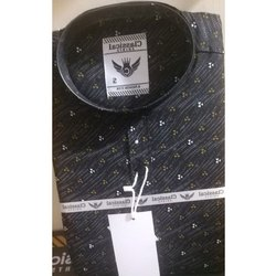 Blue Mens Black Cotton Printed Shirt