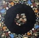 Mother Of Pearl Stone Black Marble Inlay Dining Table Top