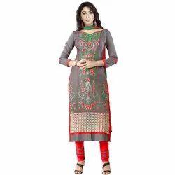 Rajnandini Grey Heavy Glass Cotton Embroidered Unstitched With Zari Work Weaved Dupatta