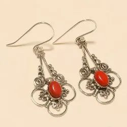 Sterling Silver Natural Italian Red Coral Earring 925