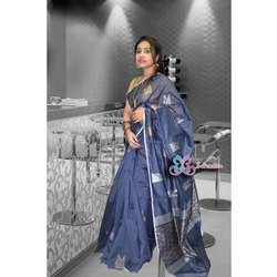 Inkreation Ladies Printed Cotton Silk Handloom Saree With Blouse Piece