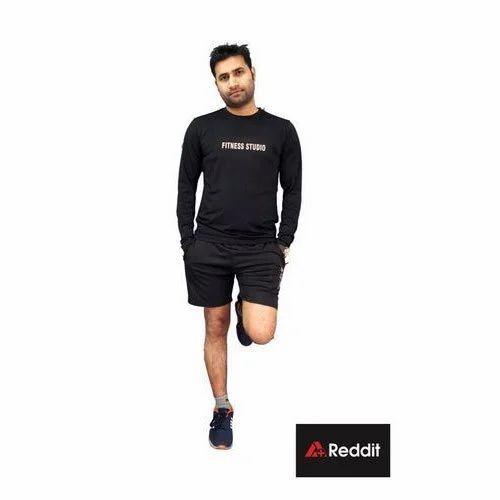 Mens Full Sleeves Black Dri Fit T Shirt