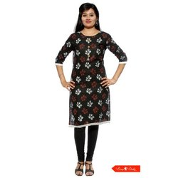 Straight Stretchable Round Neck Black Rayon Printed Kurti