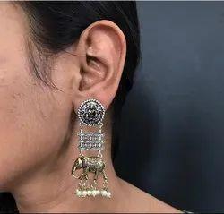 Trendy German Silver Earrings