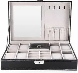 Luxury Genuine Leather 3 In One 8 Grids Watches  Jewellery & Mirror Storage Organizer Box And Ring C