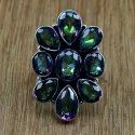 Mystic Topaz Gemstone Jewelry 925 Silver Ring