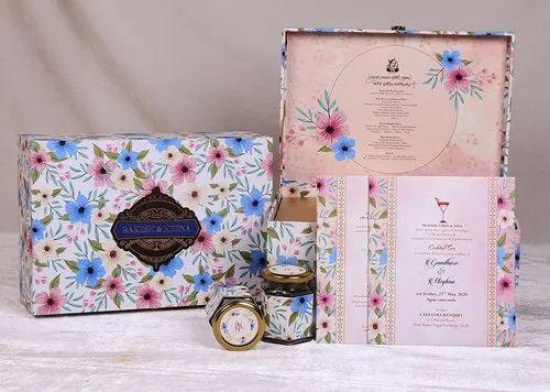 Simple & Elegant Cardboard Floral Box Wedding Invitations
