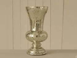 Antique Silver Glass Vase, Shape: Round