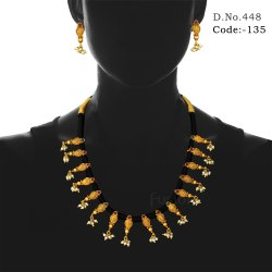 Traditional Matt Gold Necklace Set