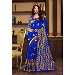 Designer Heavy Cotton Silk Saree And Blouse