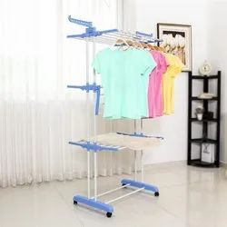 Premium Foldable Double Pole 3 Tier MS Clothes Drying Rack Laundry Dryer