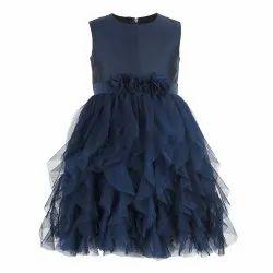 Polyester Plain Kids Girls Navy Blue Waterfall Dress, 2-12 Years