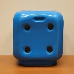 Dice Shaped Stool In Blue Colour