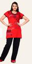 Women Red  Long T-Shirt