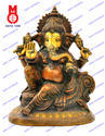 Ganesh Sitting On Designer Chair Oval Statue
