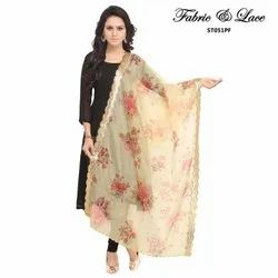 Digital Floral Print Design Dupatta With All Over Butta And Embrodaried Kasab Border