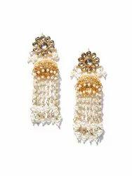 Brass Ankur Amazing Gold Plated Pearl Jumki Earring For Women
