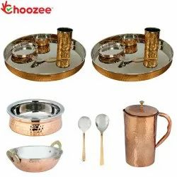 Choozee - Stainless Steel Copper Thali Set with Serveware & Hammered Pitcher Jug (15 Pcs)