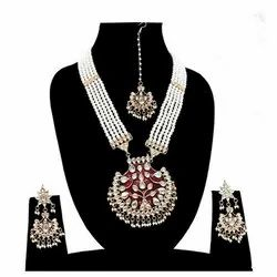 Indian Party Wear Rani Haar Necklace Earrings Set
