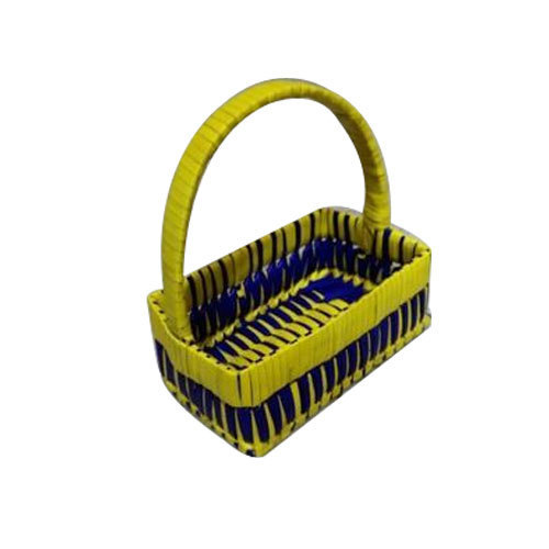 Blue Yellow Palm Leaf Rectangular Basket Rs 75 Piece Hasmi