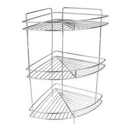 Silver Stainless Steel Shelf Rack Corner Storage, For Home, Size: H 24