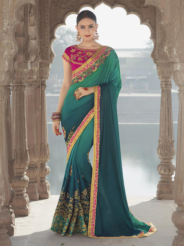 19bf9399ea0e Silk Ladies Green Elegant Designer Wedding Saree With Blouse Piece ...