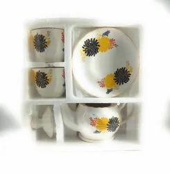 White ceramic tea cup set, For Home, Size: Standard