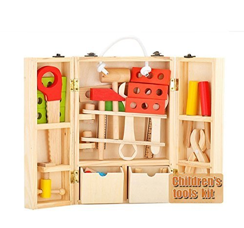 multicolored wooden toy carpenter tool box play set for kids play for personal and school play. Black Bedroom Furniture Sets. Home Design Ideas