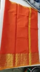 Party Wear 6.3 M (with Blouse Piece) Zari Border Orange Plain Kota Doria Saree