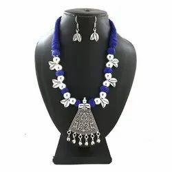 Oxidized Blue Color Leaf Necklace Set