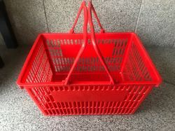 Plastic Red And Green Shopping Basket, Size: 460 X 320 X 250 Mm