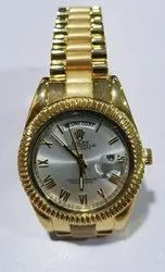 Analog Casual Wear Rolex Gold Watch, Model Name/Number: Bluedot