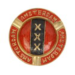 Brass Ashtray Triple X Amsterdam 4 Inch Round