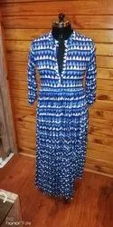 Festive Wear 3/4th Sleeves Cotton Printed Long Dress, Size: M To Xxl